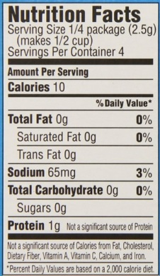 sugar free jello nutrition label