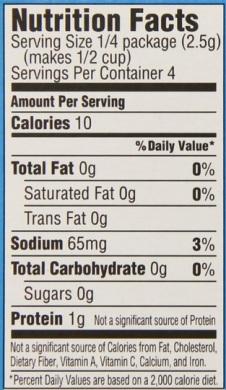 sugar free jello nutrition label